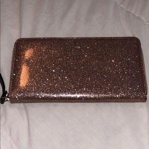Kate Spade pink sparkly large zip wallet